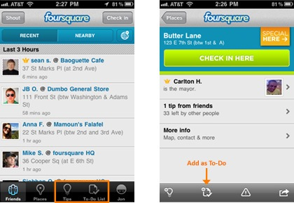 Foursquare app interface
