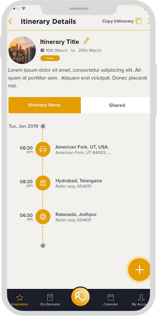 Personal Itinerary App Design